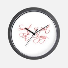 sweat-is-just-fat-crying-scr-red Wall Clock