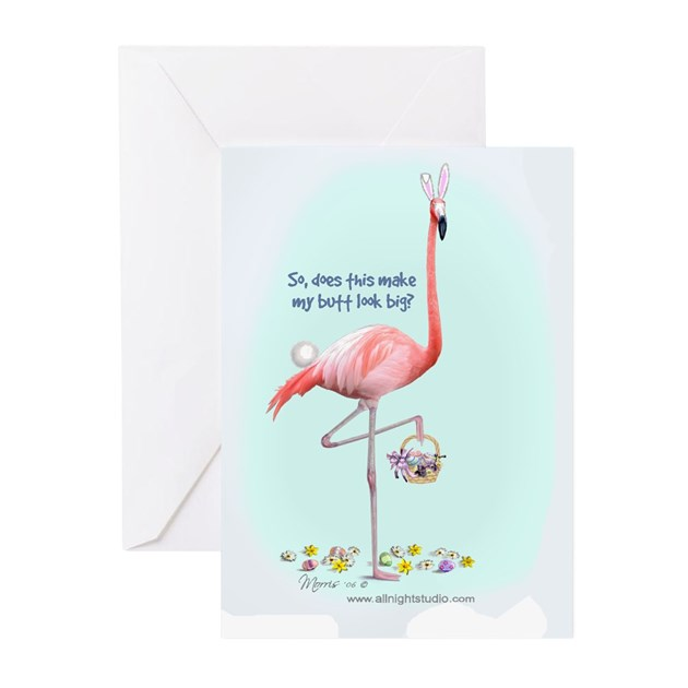 Easter Flamingo Greeting Cards (Pk of 10) by allnightstudio