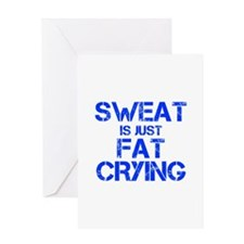 sweat-is-just-fat-crying-cap-blue Greeting Cards