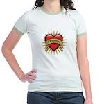 Drummer Tattoo Heart Art Jr. Ringer T-Shirt