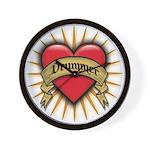 Drummer Tattoo Heart Art Wall Clock