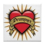 Drummer Tattoo Heart Art Tile Coaster