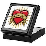 Drummer Tattoo Heart Art Keepsake Box