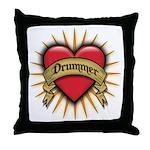 Drummer Tattoo Heart Art Throw Pillow