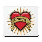 Drummer Tattoo Heart Art Mousepad