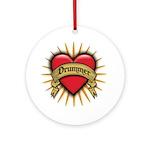 Drummer Tattoo Heart Art Ornament (Round)