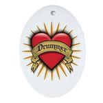 Drummer Tattoo Heart Art Oval Ornament