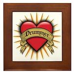 Drummer Tattoo Heart Art Framed Tile
