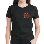 Drummer Tattoo Heart Art Women's Dark T-Shirt