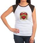 Drummer Tattoo Heart Art Women's Cap Sleeve T-Shir