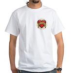 Drummer Tattoo Heart Art White T-Shirt