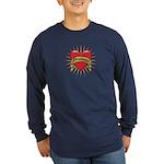 Drummer Tattoo Heart Art Long Sleeve Dark T-Shirt