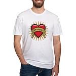 Drummer Tattoo Heart Art Fitted T-Shirt