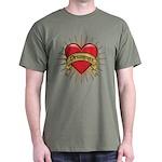 Drummer Tattoo Heart Art Dark T-Shirt