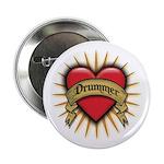 Drummer Tattoo Heart Art Button