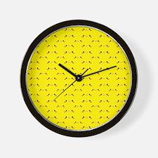 Super cute Kawaii face on yellow Wall Clock