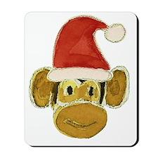 Santa Monkey Head Mousepad