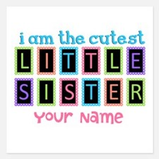 Cutest Little Sister Personalized 5.25 x 5.25 Flat