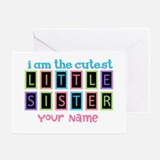 Cutest Little Sister Personalized Greeting Card
