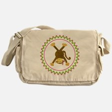Tumbling Monkey Pink Bow Upside Down Messenger Bag