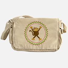 Tumbling Monkey Pink Bow Zig Zag Messenger Bag