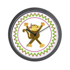 Tumbling Monkey Pink Bow Zig Zag Wall Clock