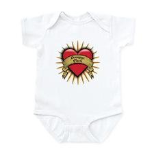 Drummer Chick Tattoo Heart Art Infant Bodysuit