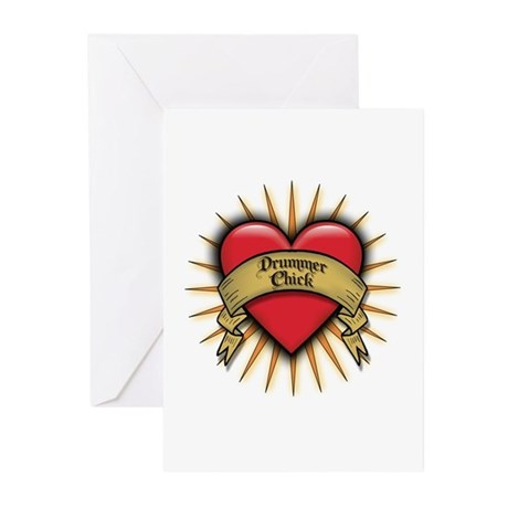 Drummer Chick Tattoo Heart Art Greeting Cards (Pac