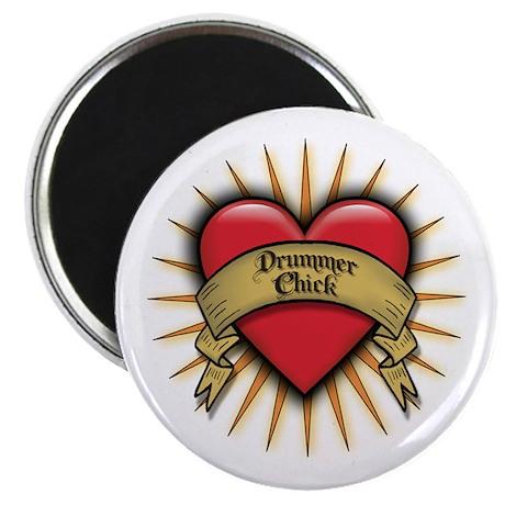 Drummer Chick Tattoo Heart Art Magnet