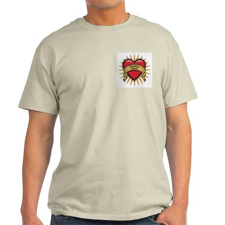 Drummer Chick Tattoo Heart Art Light T-Shirt
