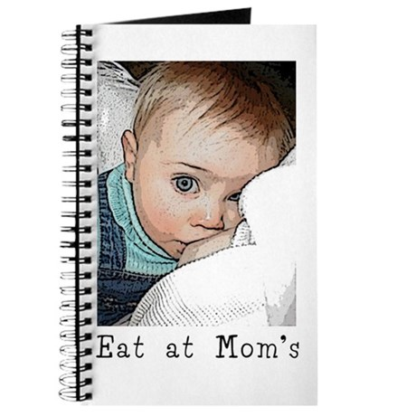 """Journal w/ nursing child, """"Eat at Mom's"""" text"""