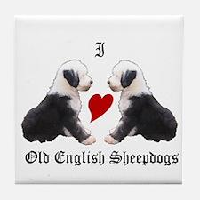 I love Sheepdogs Tile Coaster
