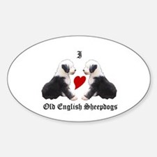 I love Sheepdogs Oval Decal