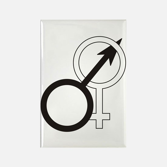 Joined Male & Female Symbol Rectangle Magnet