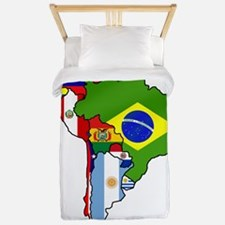 South America Flag Map Twin Duvet
