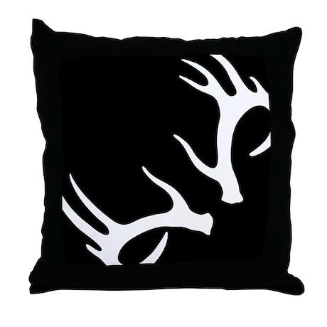 Antler Throw Pillow : Antler Black Throw Pillow by ModPillows