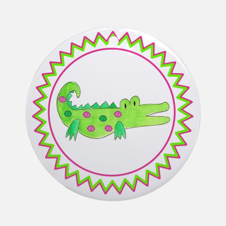 Pink Green Alligator Zig Zag Round Ornament