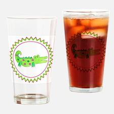 Pink Green Alligator Zig Zag Drinking Glass