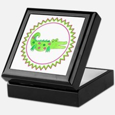Pink Green Alligator Zig Zag Keepsake Box