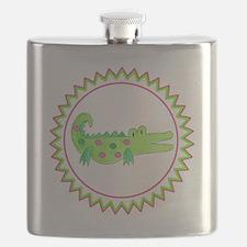 Pink Green Alligator Zig Zag Flask