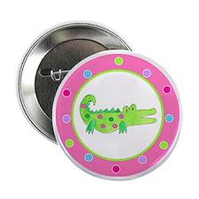 "Alligator Pink Polka Dots 2.25"" Button"