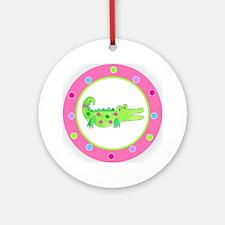 Alligator Pink Polka Dots Round Ornament