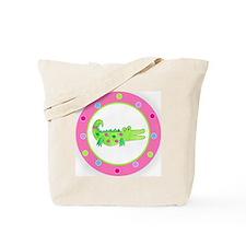 Alligator Pink Polka Dots Tote Bag