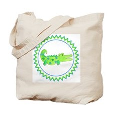 Alligator Blue Green Zig Zag Tote Bag