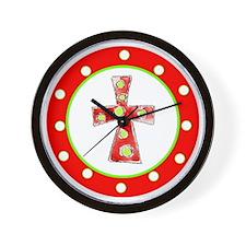 Red and Green Cross Polka Dots Wall Clock