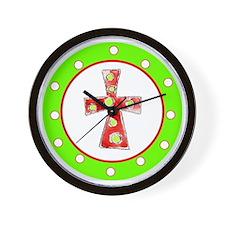 Green and Red Cross Polka Dots Wall Clock