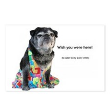 """Wish you were here"" Pug Postcards (Package of 8)"