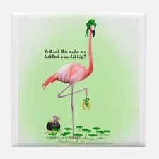 St Patrick's Day Flamingo Tile Coaster