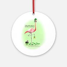 St Patrick's Day Flamingo Ornament (Round)