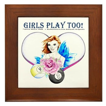 Girls Play Pool Too Rose Fairy Framed Tile
